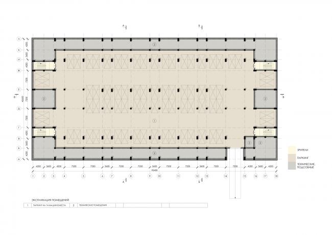 Sports and recreation complex of the judo school. Plan of the -1 floor © Studio 44