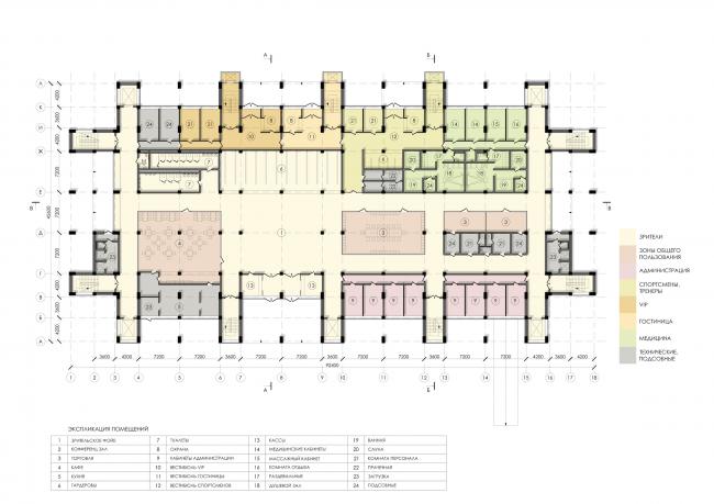 Спортивно-оздоровительный комплекс школы дзюдо. План 1 этажа © Студия 44