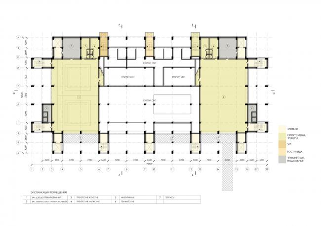 Спортивно-оздоровительный комплекс школы дзюдо. План 2 этажа © Студия 44
