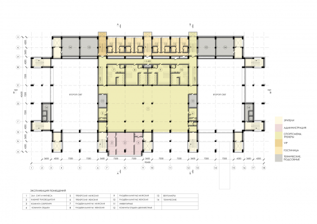 Sports and recreation complex of the judo school. Plan of the 3rd floor © Studio 44