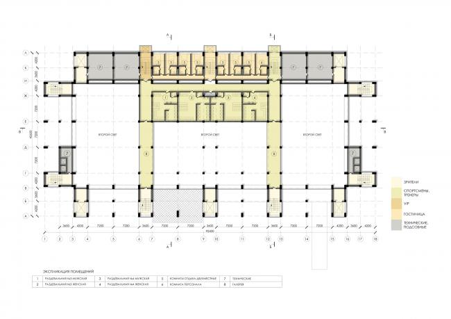 Спортивно-оздоровительный комплекс школы дзюдо. План 4 этажа © Студия 44