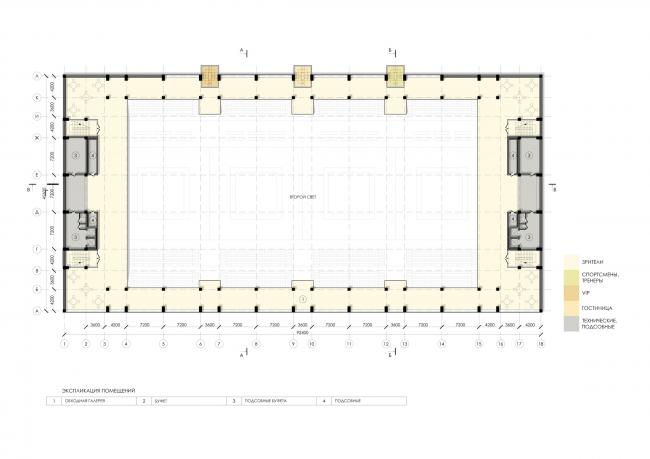 Спортивно-оздоровительный комплекс школы дзюдо. План 7 этажа © Студия 44