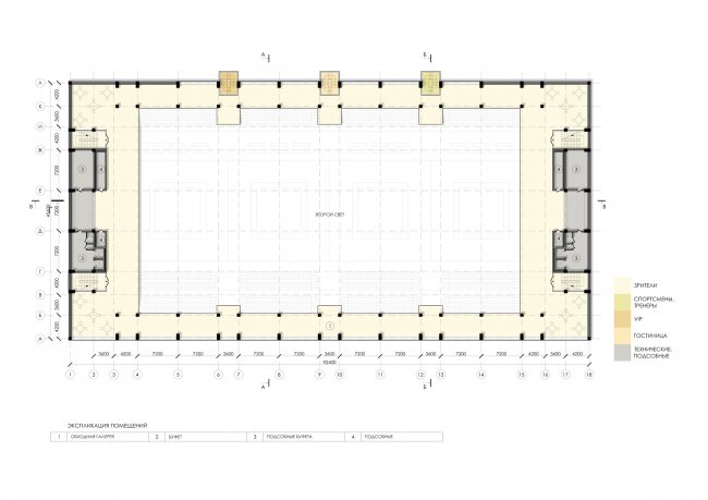 Sports and recreation complex of the judo school. Plan of the 7th floor © Studio 44