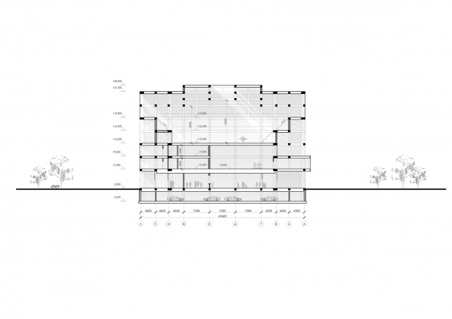 Sports and recreation complex of the judo school. Section view © Studio 44