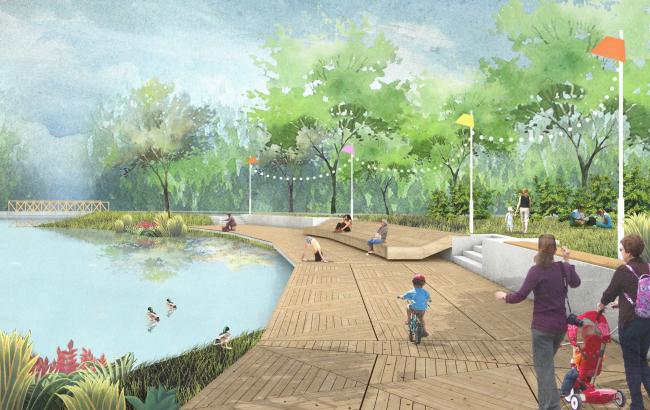 Городской парк в городе Гагарине. Пруд и набережная. Проект, 2015 © Архитектурное бюро Практика