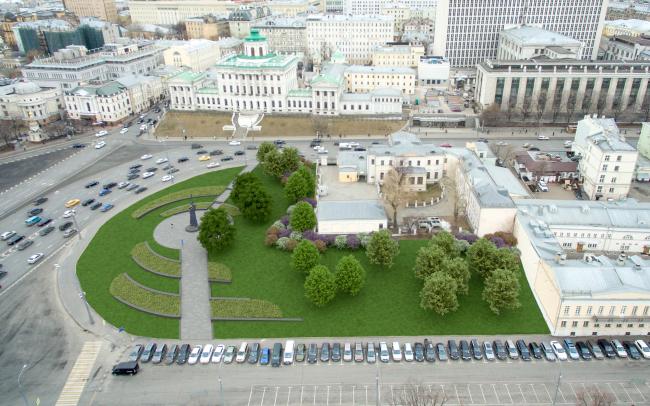 Благоустройство Боровицкой площади. Проект, 2016 © Ландшафтная компания ARTEZA