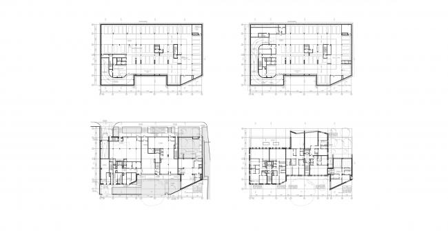 Жилой дом с подземной автостоянкой на ул. Бурденко. Планы этажей © Сергей Скуратов ARCHITECTS