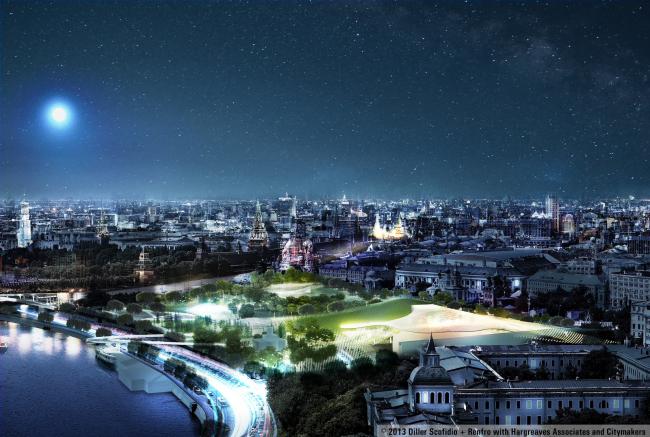 Парк «Зарядье». Консорциум Diller Scofidio + Renfo, Citymakers, Hargreaves, Ландшафтная компания ARTEZA. Проект, 2013 © Ландшафтная компания ARTEZA