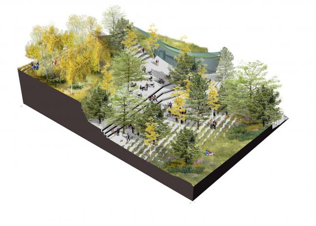 Парк «Зарядье». Консорциум Diller Scofidio + Renfo, Citymakers, Hargreaves, Ландшафтная компания ARTEZA. Аксонометрия © Ландшафтная компания ARTEZA