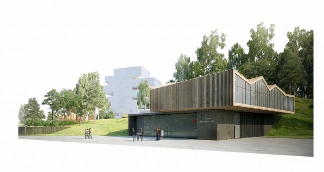 Парк «Ходынское поле». Здание метрополитена и ресторан. Конкурсный проект, 2014 © Ландшафтная компания ARTEZA