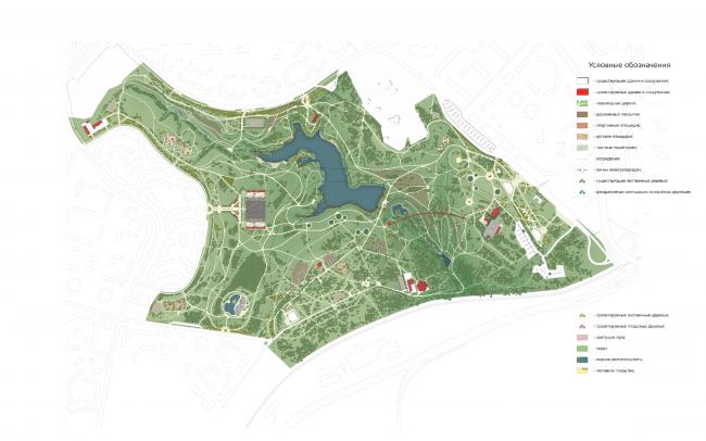 Генеральный план. Концепция развития ландшафтного парка «Митино», мастерская ландшафтного дизайна Arteza © Ландшафтная компания Arteza