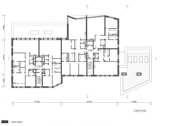 Жилой дом с подземной автостоянкой на ул. Бурденко. План 2 этажа © Сергей Скуратов ARCHITECTS
