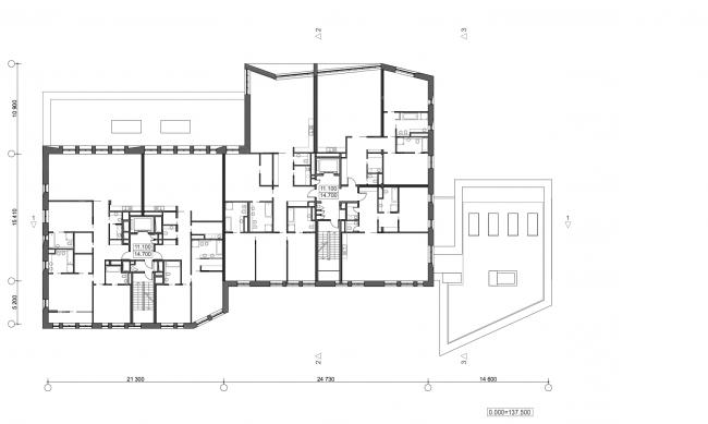 Жилой дом с подземной автостоянкой на ул. Бурденко. План 3-4 этажей © Сергей Скуратов ARCHITECTS