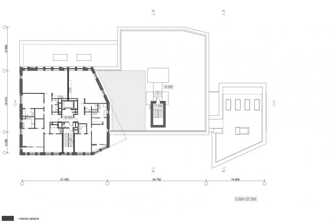 Жилой дом с подземной автостоянкой на ул. Бурденко. План 5 этажа © Сергей Скуратов ARCHITECTS