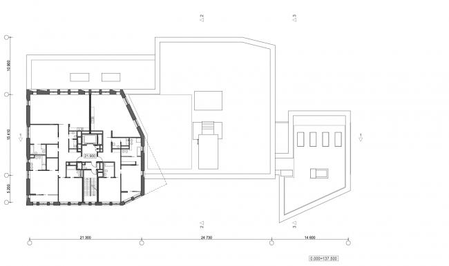 Жилой дом с подземной автостоянкой на ул. Бурденко. План 7-8 этажей © Сергей Скуратов ARCHITECTS