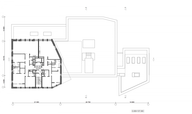 Жилой дом с подземной автостоянкой на ул. Бурденко. План 6 этажа © Сергей Скуратов ARCHITECTS