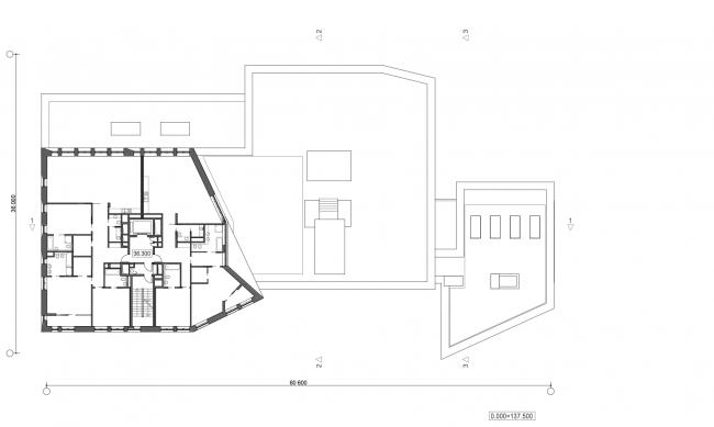 Жилой дом с подземной автостоянкой на ул. Бурденко. План 10 этажа © Сергей Скуратов ARCHITECTS