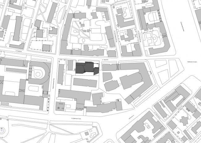 Жилой дом с подземной автостоянкой на ул. Бурденко. Ситуационный план © Сергей Скуратов ARCHITECTS