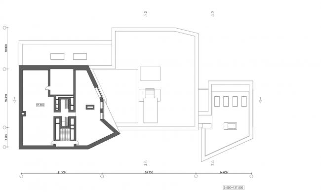 Жилой дом с подземной автостоянкой на ул. Бурденко. Технический этаж © Сергей Скуратов ARCHITECTS