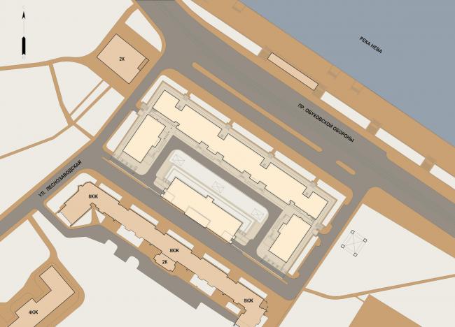 Многофункциональный жилой комплекс «Мегалит». Генеральный план © Евгений Герасимов и партнеры