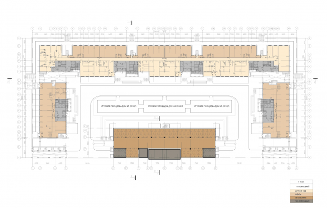 """Multifunctional housing project """"Megalit"""". Plan of the 1st floor © Eugene Gerasimov and Partners"""