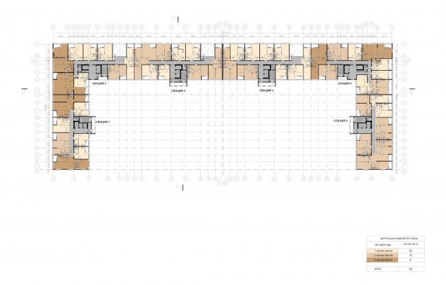 "Multifunctional housing project ""Megalit"". Plan of floors 6 to 9 © Eugene Gerasimov and Partners"