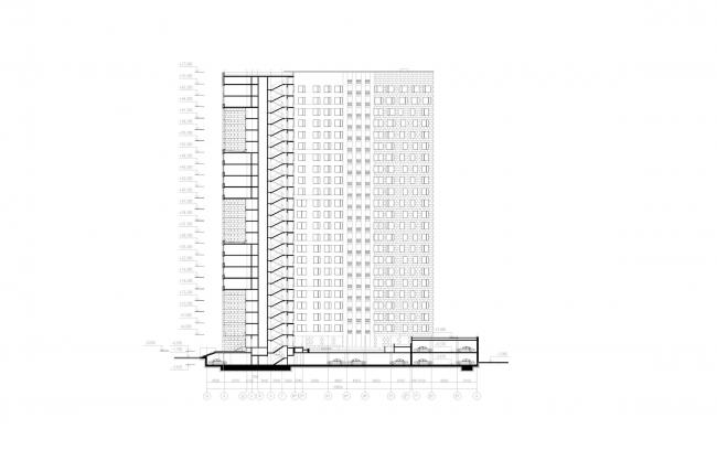 Многофункциональный жилой комплекс «Мегалит». Разрез © Евгений Герасимов и партнеры