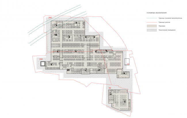 """The concept of a multifunctional housing project on the Bolshaya Pochtovaya Street. Plan of the underground parking on the -1st floor © """"ABV Group"""" architects"""