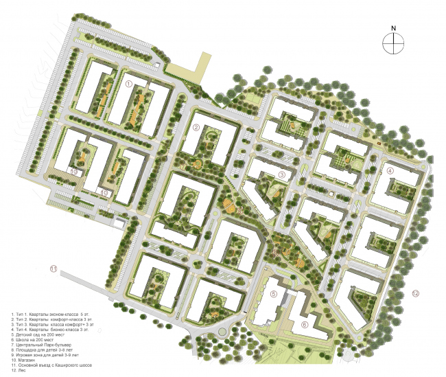"""""""Gorky"""" residential area. Master plan. Project, 2015 © DNK ag"""