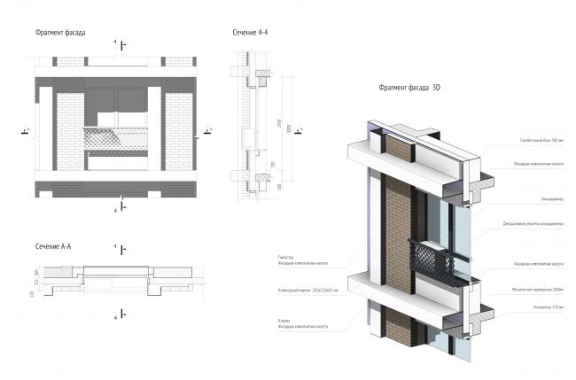 Трехмерный вид и сечения фрагмента фасада жилого дома, спроектированного в технологии BIM. Изображения получены напрямую из BIM-модели без использования сторонних средств © Проектное бюро APEX