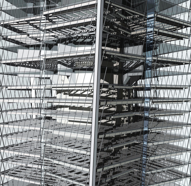 Фрагмент информационной модели башни «Лахта-центр». Несущие и ограждающие конструкции. Горпроект © Академия BIM