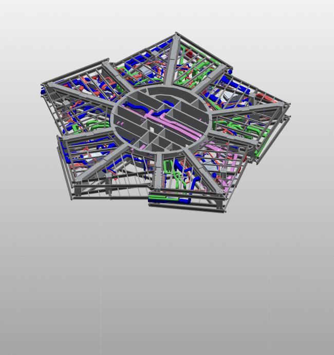 Фрагмент информационной модели башни «Лахта-центр». Модель типового этажа. Горпроект © Академия BIM