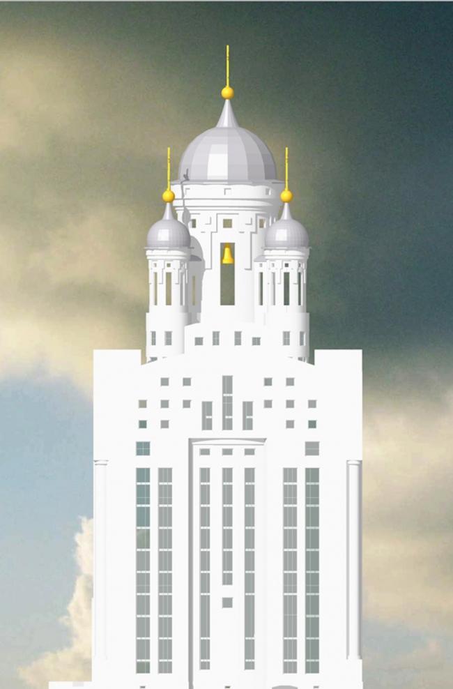 Проект 11-этажной церкви в Малиновке. Архитектор Роман Муравьев. Изображение предоставлено Комиссией по церковной архитектуре СА СПб