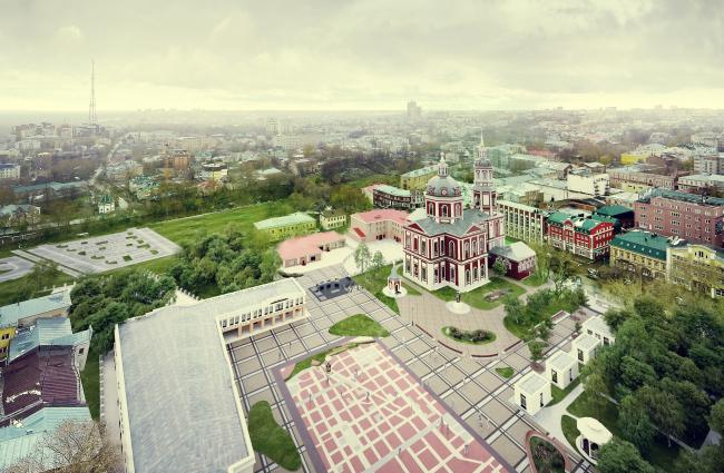 Реконструкция Спасской площади в Кирове. Вид с высоты птичьего полета © Архстройдизайн
