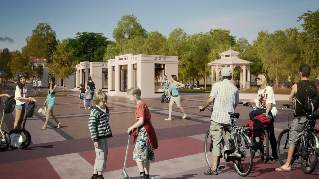 Reconstruction of Kirov′s Spasskaya Square. The shopping arcades and the park if viewed from the square © Arkhstroidesign