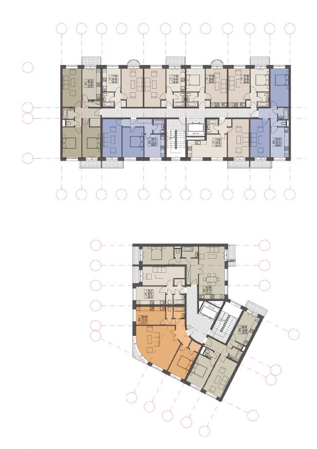 Проект жилого квартала «Бастион» в Кирове. Планы секций © Архстройдизайн