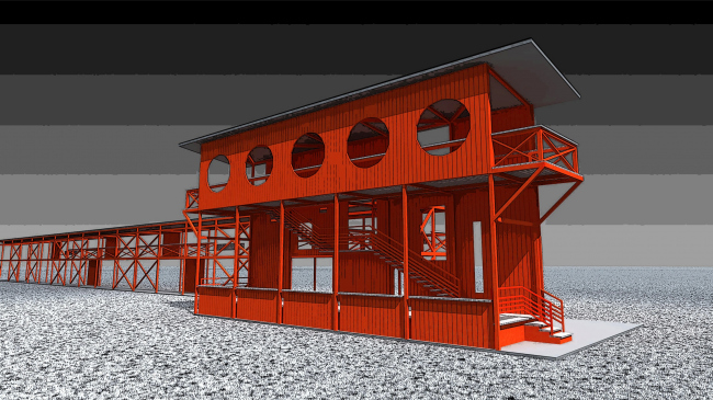 Architectural and engineering proposal of a shooting club in Kirov © Arkhstroidesign