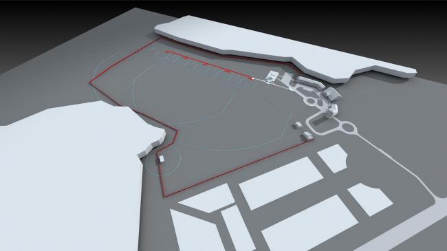 Архитектурно-панировочная концепция стрелкового комплекса в Кирове. Вид с высоты птичьего полета © Архстройдизайн