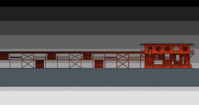 Архитектурно-панировочная концепция стрелкового комплекса в Кирове. Развертка © Архстройдизайн