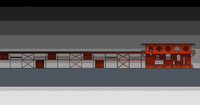 Architectural and engineering proposal of a shooting club in Kirov. Development drawing © Arkhstroidesign
