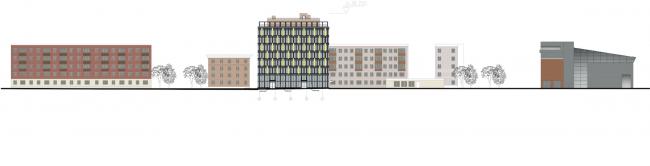 Архитектурно-градостроительное решение объекта «Административный центр». Развертка со стороны улицы Алексея Свиридова © ABD architects