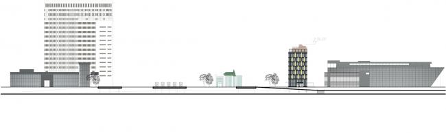 Архитектурно-градостроительное решение объекта «Административный центр». Развертка © ABD architects