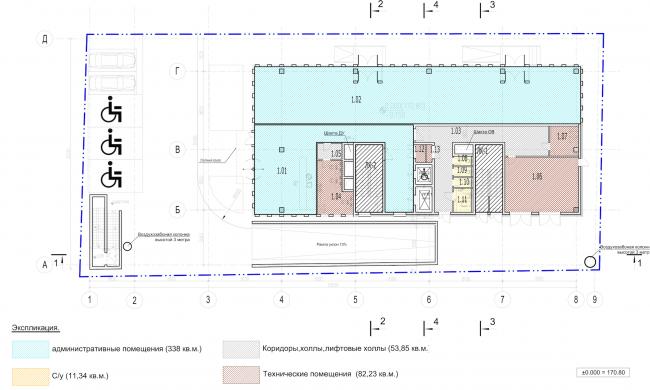 Архитектурно-градостроительное решение объекта «Административный центр». План 1 этажа © ABD architects