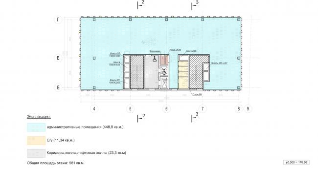 Архитектурно-градостроительное решение объекта «Административный центр». План 2-7 этажей © ABD architects