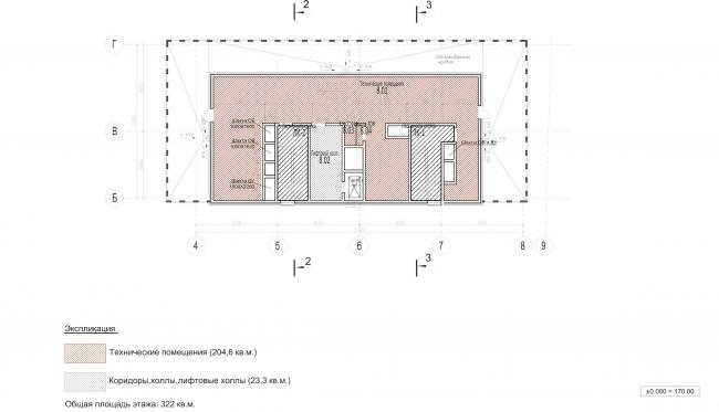 Архитектурно-градостроительное решение объекта «Административный центр». План технического этажа © ABD architects
