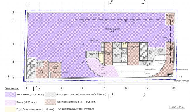 Архитектурно-градостроительное решение объекта «Административный центр». План -2 этажа © ABD architects