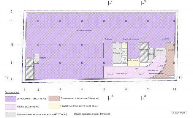 Архитектурно-градостроительное решение объекта «Административный центр». План -1 этажа © ABD architects