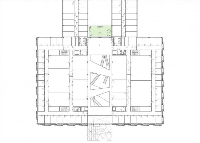 Инженерный корпус Федерального политехнического университета Лозанны. План © Dominique Perrault Architecture / Adagp