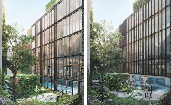 Дворовый фасад и сад: слева апрель 2016, справа июнь 2016 © 2012 Steven Wang & Associates PLLC