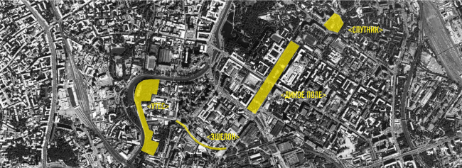 Четыре участка в районе Лефортово, выбранные в качестве площадок для проектирования. Иллюстрация предоставлена школой «Эволюция»